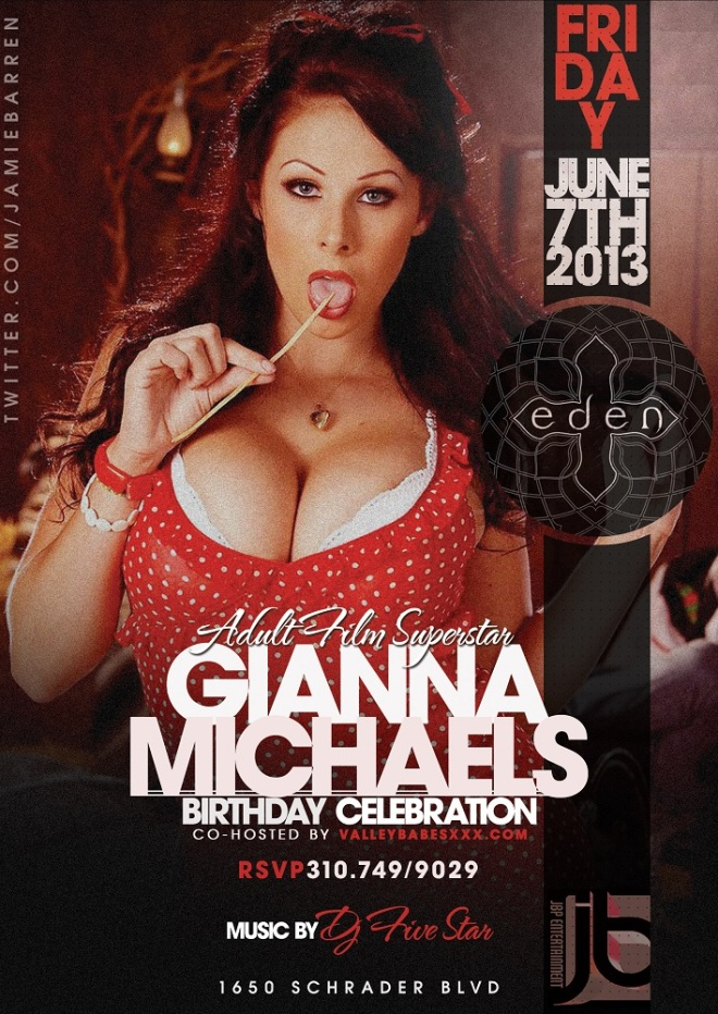 Adult Star Gianna Michaels Birthday at Eden