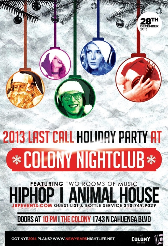 """Colony Hollywood Saturdays 2013 December 28 flyer image"""