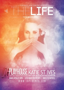 """Katie St Ives Birthday at Playhouse flyer image"""