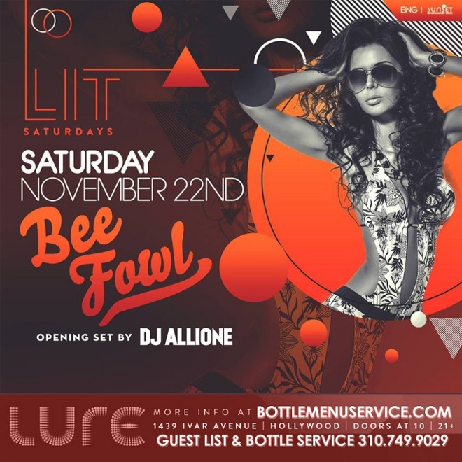 """Lure Hollywood LIT Saturday November 22"""