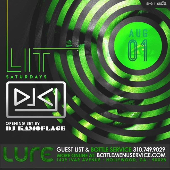 Lure Hollywood LIT Saturdays 1st Aug 2015